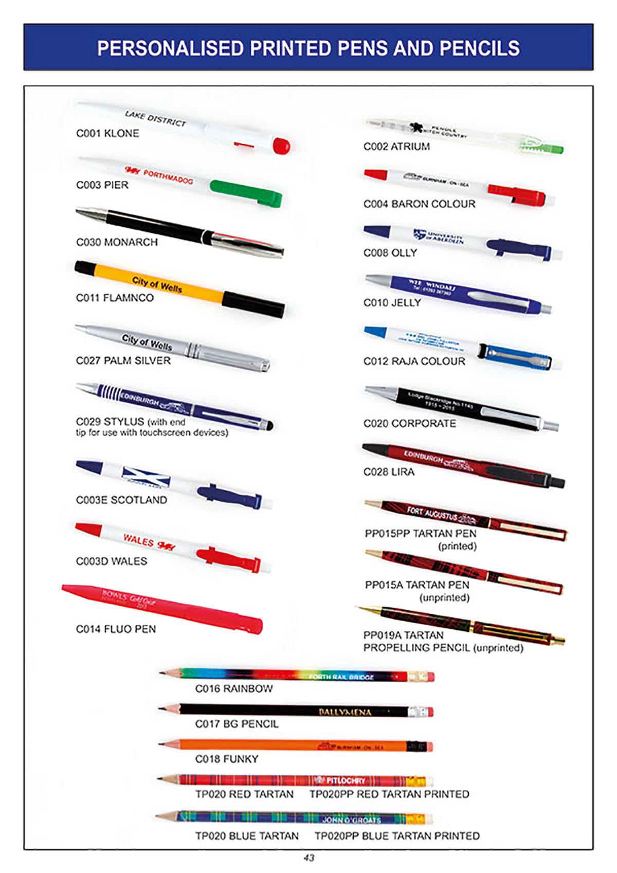 personalised printed pens pencils