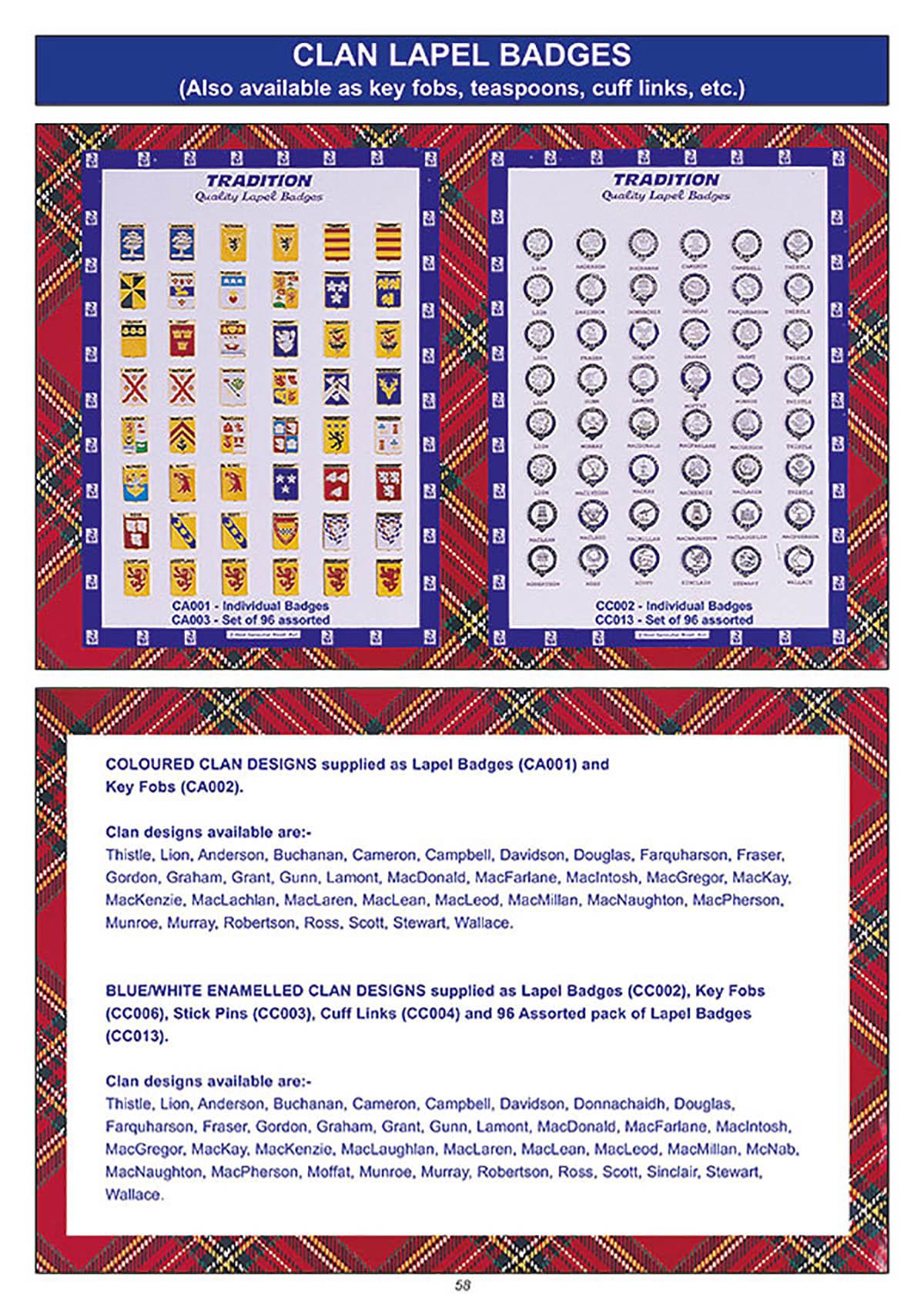 souvenir clan lapel badges giftware