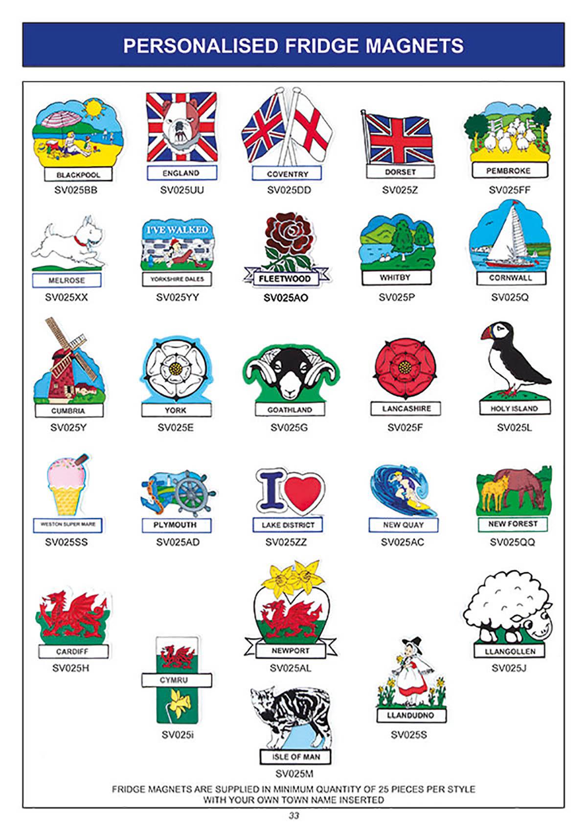 souvenir personalised fridge magnets flags